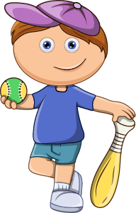 drawing of a boy with a baseball and bat
